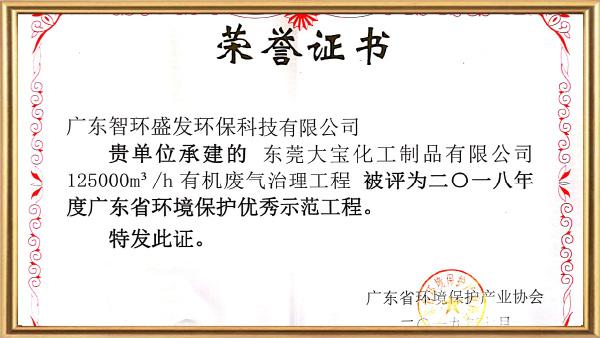 智环盛发广东环境保护优秀示范工程证书广东环境保护优秀示范工程证书