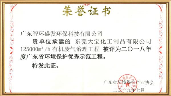 智环盛发示范工程荣誉证书